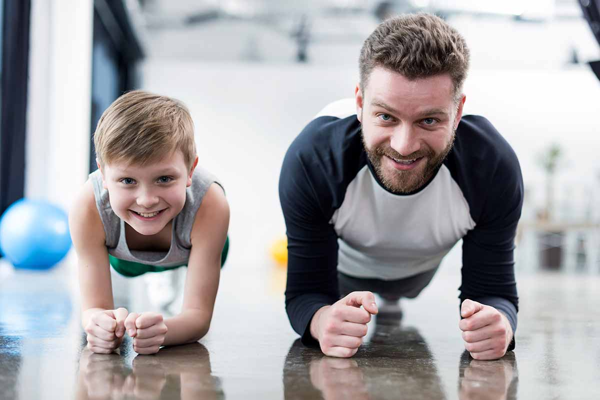 Father and Son working out with a family membership at ColumbusFit