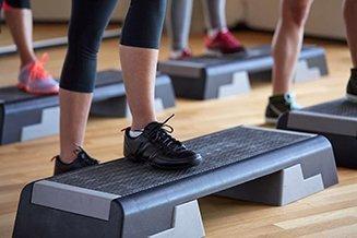 Aerobics close up of women exercising